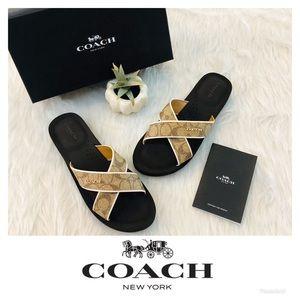 Coach | Janine Criss Cross Slip On Sandals Khaki